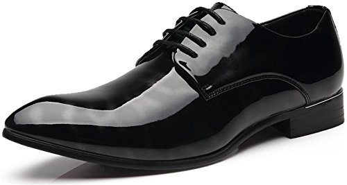 Men's Business Casual Leather Shoes Wingtip Patent-Leather Tuxedo Dress Shoes (8.5, - Mall Oxford