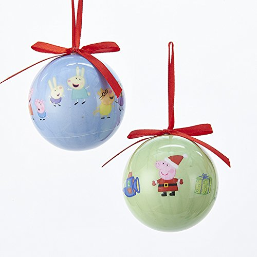 Kurt Adler 60 MM 2 Assorted Blue And Green Peppa Pig Decoupage Christmas Ball Ornaments ()