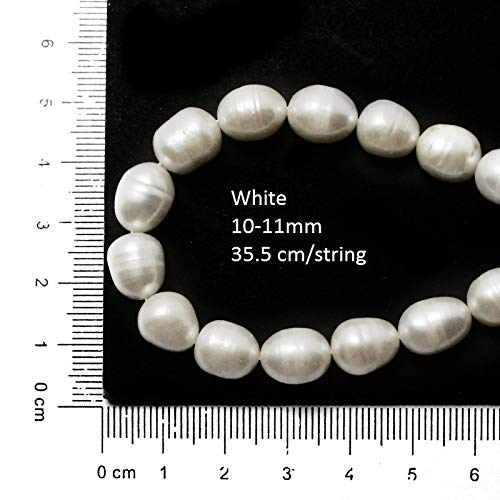 35.5cm DIY Necklace Bracelat Jewelry Making Rice Shape Natural White Pink Freshwater Pearl Loose Beads Strand - (White 10 to 11mm)