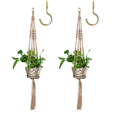 Hangers Plan - WIWAPLEX Macrame Plant Hanger, 2 Pack Plant Hanger, Jute Plan Hanger Indoor Outdoor, 4 Legs Plant Hanger Brackets, Flower Pot Hanging Plant Holder for Home Decorations 34 Inches with 2 Ceiling Hooks