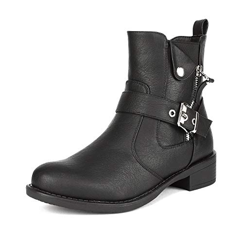 DREAM PAIRS Women's Rockit Black Military Combat Ankle Boots