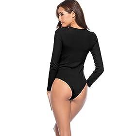 - 41OE2spa6uL - Amilia Women's Basic Long Sleeve Bodysuit Snap Button Leotard Tops Bodycon Jumpsuit