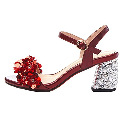 ENMAYER Womens Patent Leather Ankle Strp High Heels Open Toe Platform Sandals Casual Dress Shoes Red Wine#5 G30zvdIV