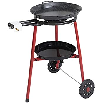 Mabel Home Paella Pan + Paella Burner and Stand Set on Wheels + Complete Paella Kit for up to 14 Servings - 15.75 inch Gas Burner + 18 inch Enamaled Steel ...