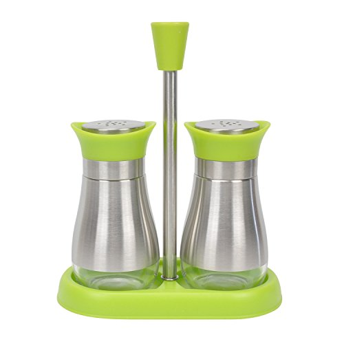Evelyne 2-Piece Set Salt & Pepper Glass Shaker Stainless Steel Cover with Tray (Green) ()