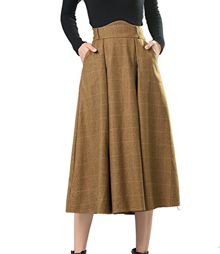 Sanifer Women's Wool Plaid Flared Skirt Winter Fall Long Midi Skirt (US 10, Khaki) (Soft Skirt Wool)