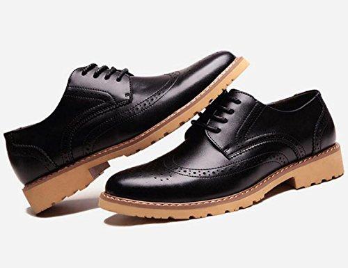 GRRONG Chaussures En Cuir Pour Homme En Cuir Véritable Loisirs Noir Jaune Marron Black d0RSyD