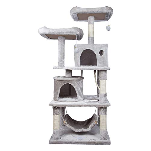 HENGMEI Kratzbaum Kletterbaum Katzenkratzbaum mit Hängematte und Spielmöglichkeiten, Höhe 145 cm für Katzen, Hellgrau