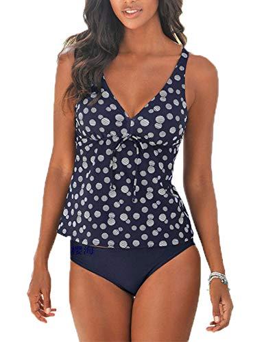 (Women's Stripes Tankini Top Bikini Swimwear with Brief 2 Piece Bathing Suits Plus Size Set)