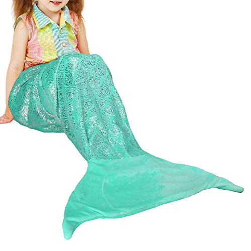 Catalonia Kids Mermaid Tail Blanket,Super Soft Plush Sleeping Snuggle Blanket for Girls,Fish Scale Pattern,Gift Idea,Blue