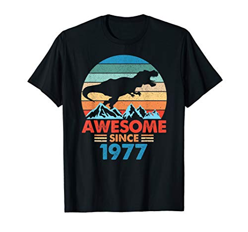 - 42 Birthday Gift Retro Awesome Dinosaur Vintage 1977 t shirt