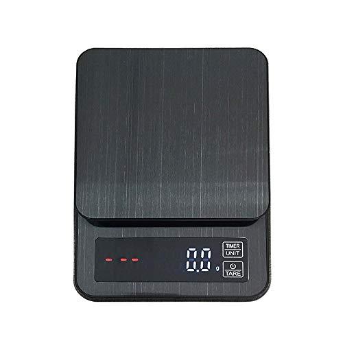 AOLVO Balanza de Cocina de 3/5/10 kg con luz LED y Temporizador, Funciona con batería/Carga USB, 10 Kg/22 LB, 1