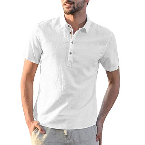 Men's Baggy Cotton Linen Solid Short Sleeve Button Turn-Down Collar Shirts Tops, MmNote - Linen Mad