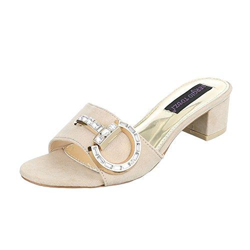 Ital-Design - zapatillas de baile (jazz y contemporáneo) Mujer Beige