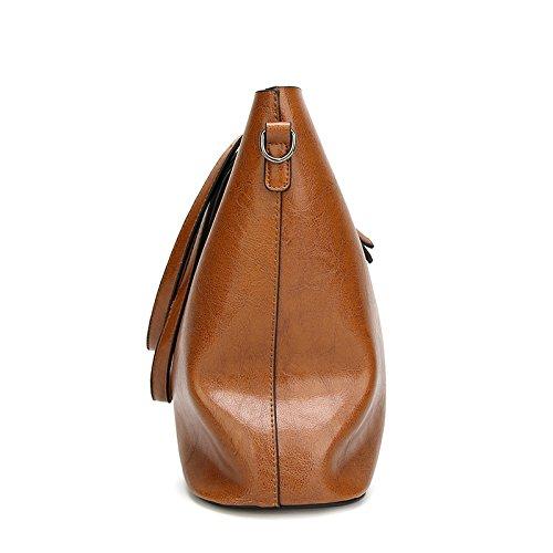 BBWAY Damen Rucksack Umhängetasche Schulrucksäcke Leder Reise Daypacks Tasche Schulranzen Brown