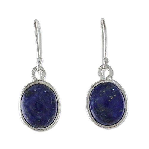 NOVICA Lapis Lazuli .925 Sterling Silver Oval Dangle Earrings 'Majestic - Oval Earrings Lapis