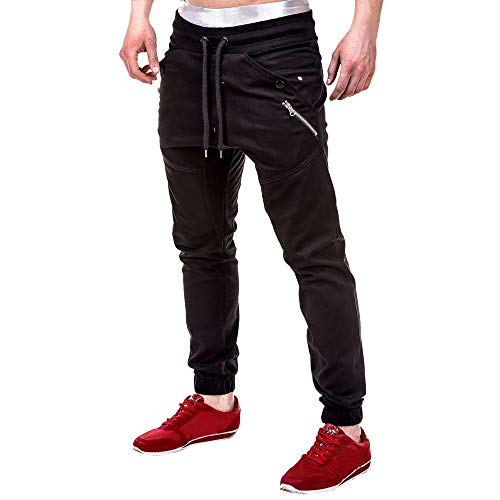 Benficial Fashion Men's Athletic Patchwork Running Sport Jogger Pants with Zipper Pockets Black