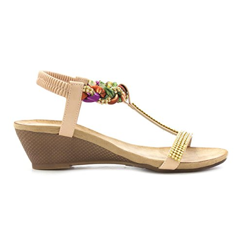 Lilley Wedge Damen Sandal Nude Diamante Pink Bar T va4HAqgv