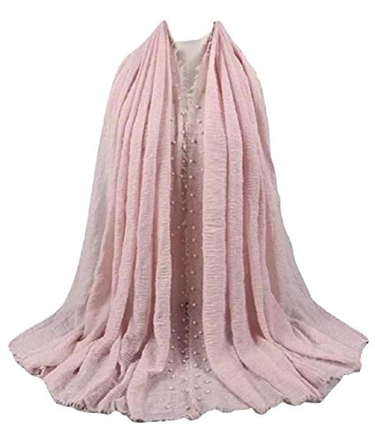 SHAYAN WOMEN HIT 2018 VISCOSE SCARF PEARL SOLID CRINKLE HIJAB SCARF SHAWL (BABY PINK) ()