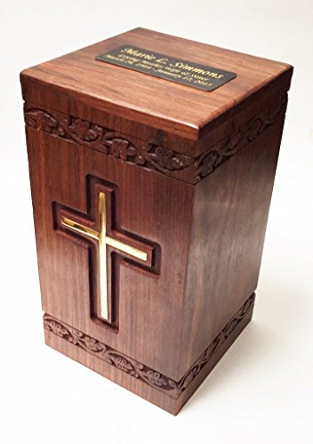 Wooden Adult Size Human Funeral Cremation Urn with solid brass cross and Engraved plaque