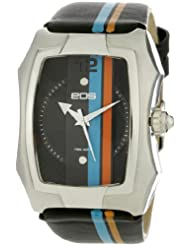EOS Men's 216LBLUORG Heist Blue and Orange Stripe Black Sport Watch