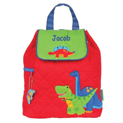 Personalized Dinosaur - Personalized Quilted Dinosaur Embroidered Backpack