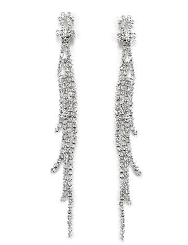 Topwholesalejewel Silver Crystal Rhinestone 4 Strands Long Drop Dangle (4 Strand Necklace Earrings)