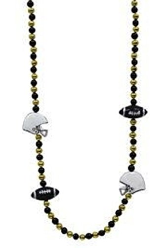 Mardi Gras, Black and Gold Football Beads, Necklace, 42