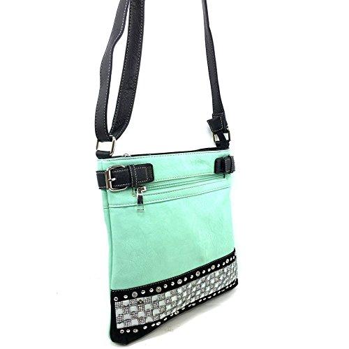Pastel Carry Concealed West Messenger Justin Cross Crystal Rhinestone Purse Handbag Body Mint Bling Zipper q1YnWpn