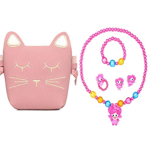 Hpwai Little Girls Pink Cute Cat Crossbody Bag with Necklace Clip-on Earrings Ring Bracelet for Kids Toddler