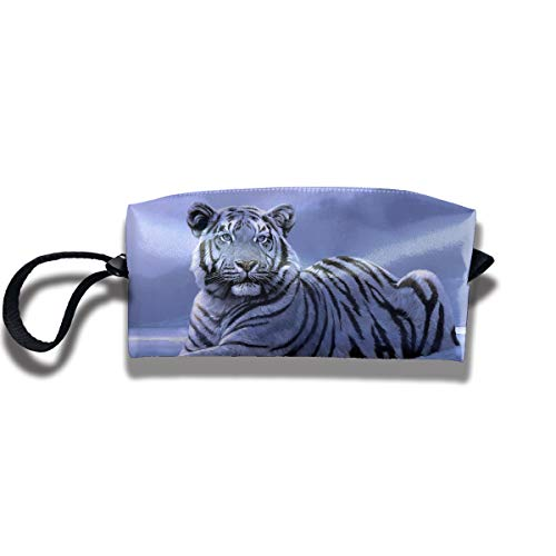 Cosmetic Bags With Zipper Makeup Bag Snow Tiger Middle Wallet Hangbag Wristlet Holder -