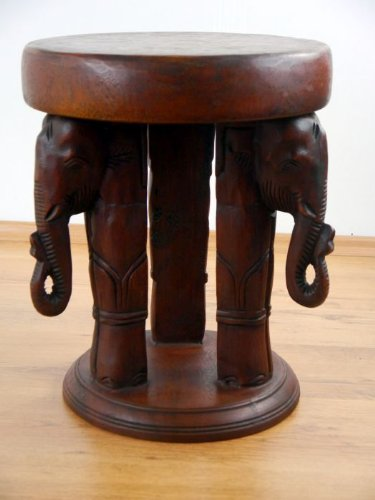 Asia Wohnstudio Magnificent solid wood stool unique Thai elephant carvings, handmade plant stand side table