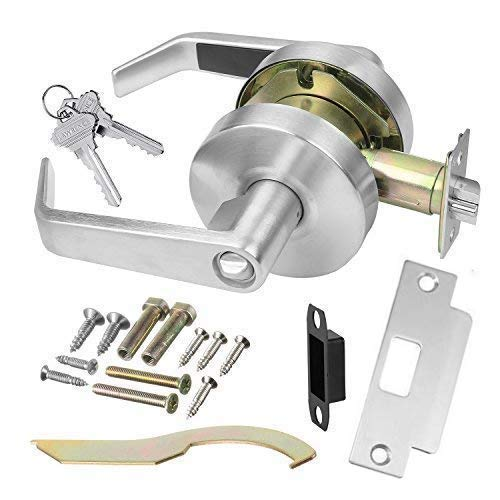 (Commercial Cylindrical Lever Heavy Duty Non-Handed Grade 2 Door Handle (Entrance/Keylock, Satin Chrome, 26D) - INOX BL-07 - UL 3 Hour Fire Rated & ADA)