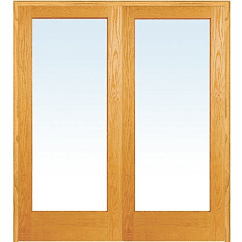 y ZA19936BA Unfinished Pine Wood 1 Lite Clear Glass, Both Active Prehung Interior Double Door, 72