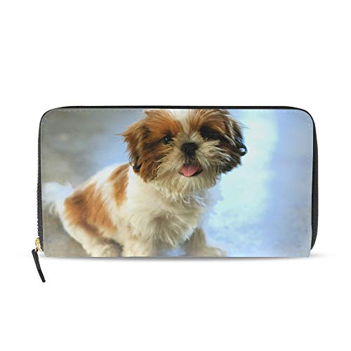 (Women Zipper Wristlet Wallet Shih Tzu Puppy Designer Clutch Purse Phone Credit Card Holder)