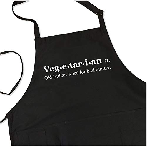 Funny Vegetarian Apron - Old Indian Word for Bad Hunter - BBQ Apron for Dad - 1 Size Fits All Chef Quality Poly/Cotton 4 Utility Pockets, Adjustable Neck and Extra Long Waist Ties by ApronMen