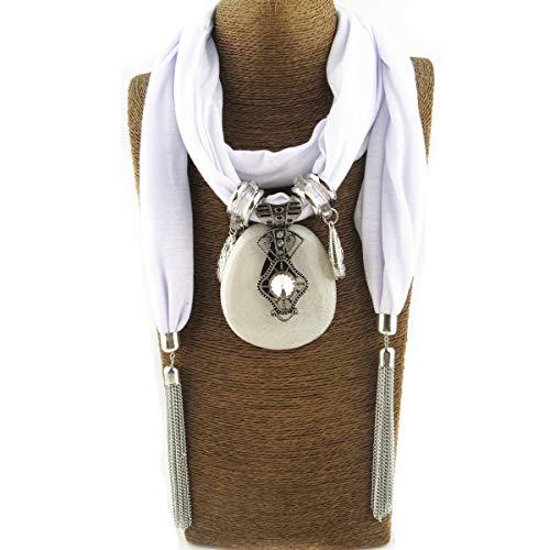 lureme Women's Scarf Necklace Statement Tassel Scarf Jewelry Accessory Pendant Scarf (sf000064-2)