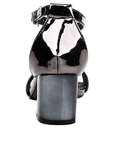 Open Toe Buckle Heels Materials Black EGHLH004775 Kitten Women's Blend Solid Sandals WeiPoot ZgfwXI4qn