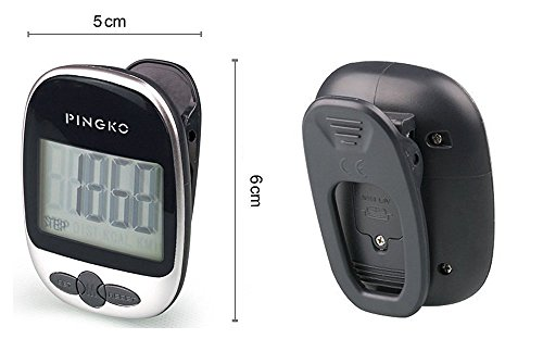 PINGKO Multi function Portable Outdoor Sport Pedometer Step/distance/calories/ Counter Black