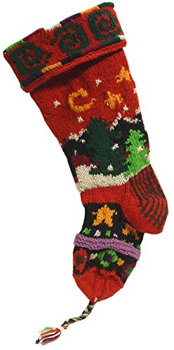 e, Organic & Green Gifts Old Fashioned, Keepsake Quality Handknit Wool Christmas Stockings (Mountain Scene - Red) ()