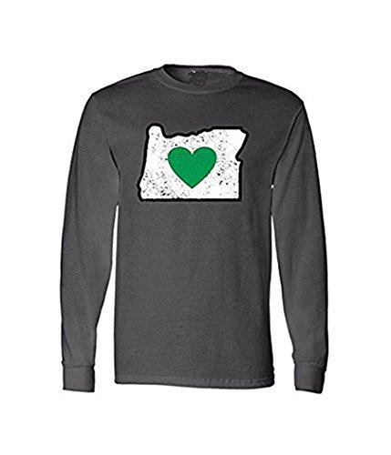 Heart in Oregon Long Sleeve T-Shirt (Mens Medium, Charcoal Heather Gray,) - Vintage Logo - Super Soft, Poly/Cotton Blend. (Size M)