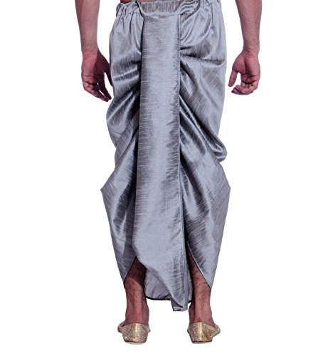 Royal Kurta Men's Art Silk Fine Quality Ready to Wear Dhoti Pant Free Size Grey