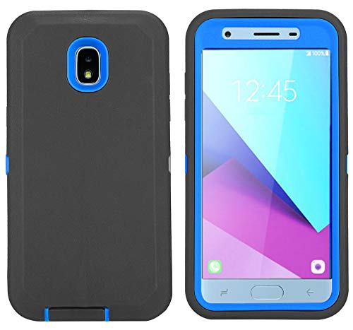 Case for Galaxy J3 2018/J3 V 3rd/Express Prime 3/Achieve/J3 Star/Orbit/Amp Prime 3, with [Built-in Screen Protector] [Kickstand] Heavy Duty Full-Body J3 2018 Case (Black/Blue)