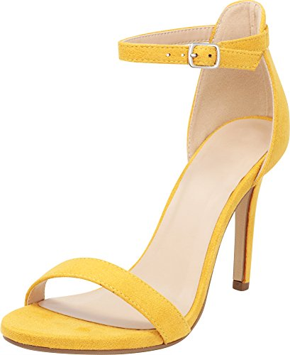 Yellow Sandals Dress (Cambridge Select Women's Open Toe Single Band Buckle Thin Ankle Strappy Stiletto High Heel Dress Sandal,8 B(M) US,New Mustard IMSU)