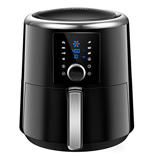 OMORC Air Fryer XL 6QT(w/Cookbook), 1800W Fast Cook Air fryer Oven Large Digital Oilless Cooker w/Quick Knob & Touch Screen, 8-15 Presets, Preheat & Time display, Nonstick Basket, 2-Year Warranty