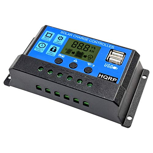 HQRP 10A Solar Battery Charge Controller/Power Regulator 10 Amp 12V / 24V w/Dual USB and LCD Display Plus UV Meter