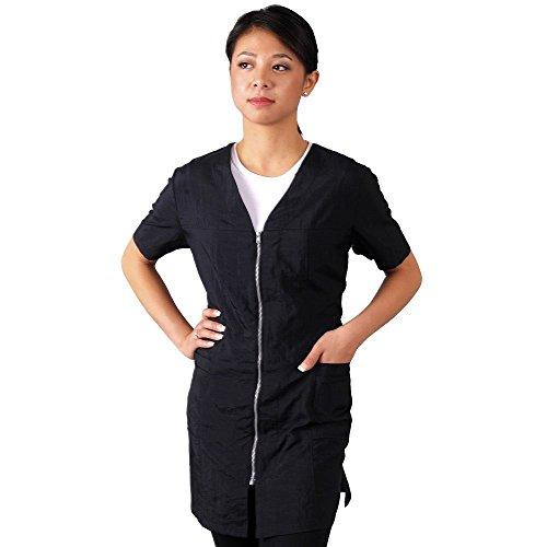 JMT Beauty Short Sleeve Black with Zipper Salon Smock (XXL (14))