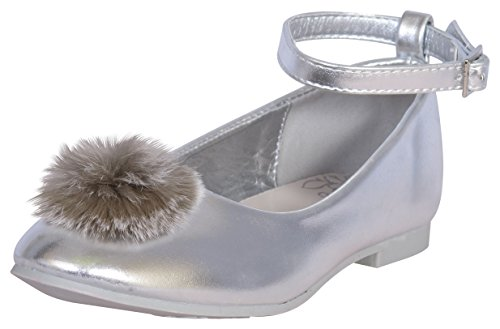 84fb2fc8b3fce Nanette Lepore Girls' Ballet Flats with Strap and Pom Pom Over Toe, Silver,  Size 11'