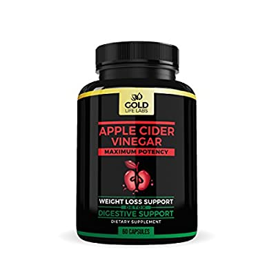 Apple Cider Vinegar Capsules - 350mg 60 Capsules - Promotes Digestion & Detox - Apple Cider Vinegar Pills Support Weight Loss Management - Made In USA