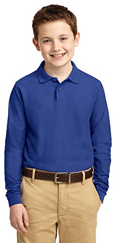 Port Authority Youth Long Sleeve Silk Touch Polo  Royal  Large